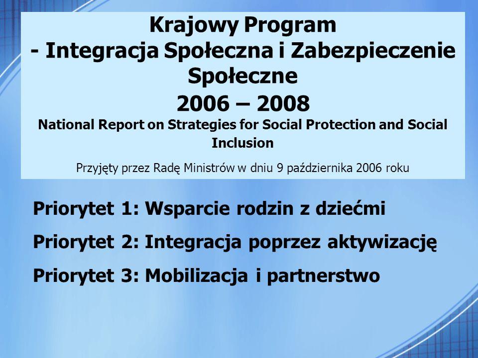 Krajowy Program - Integracja Społeczna i Zabezpieczenie Społeczne 2006 – 2008 National Report on Strategies for Social Protection and Social Inclusion Przyjęty przez Radę Ministrów w dniu 9 października 2006 roku