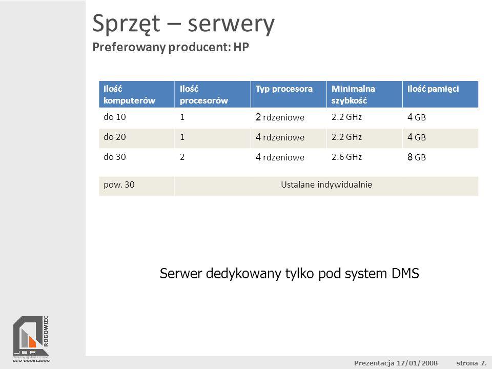 Sprzęt – serwery Preferowany producent: HP