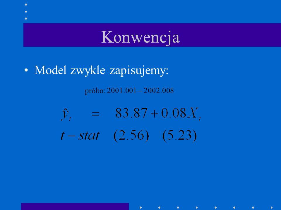 Konwencja Model zwykle zapisujemy: próba: 2001.001 – 2002.008