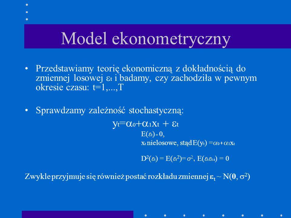 Model ekonometryczny yt=a0+a1xt + et
