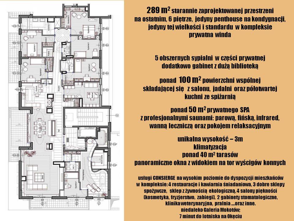 289 m2 starannie zaprojektowanej przestrzeni na ostatnim, 6 piętrze, jedyny penthouse na kondygnacji, jedyny tej wielkości i standardu w kompleksie prywatna winda