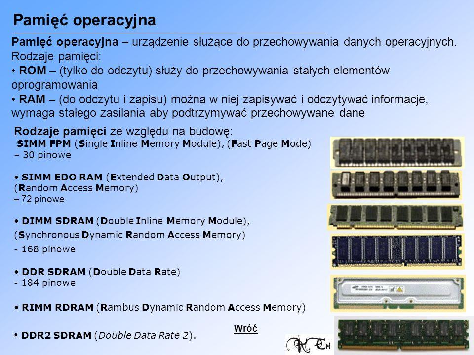 Pamięć operacyjna Pamięć operacyjna – urządzenie służące do przechowywania danych operacyjnych. Rodzaje pamięci: