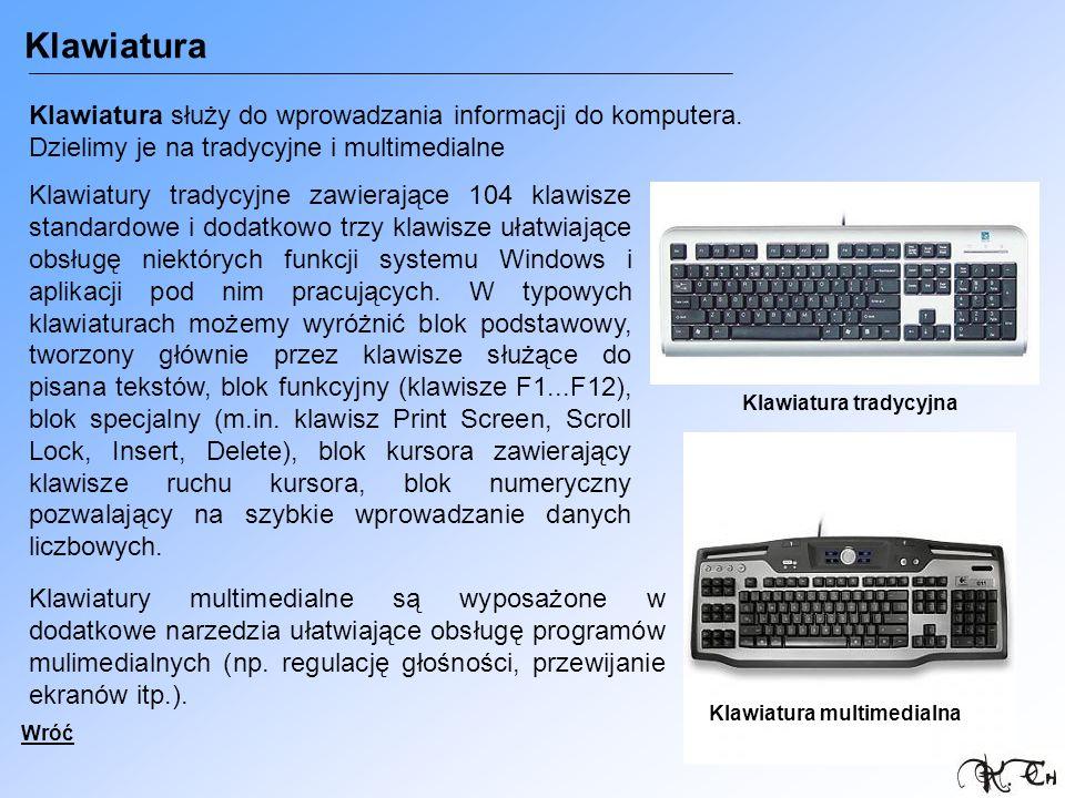 Klawiatura Klawiatura służy do wprowadzania informacji do komputera. Dzielimy je na tradycyjne i multimedialne.