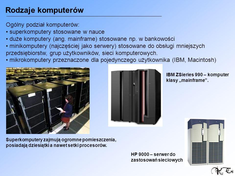 Rodzaje komputerów Ogólny podział komputerów: