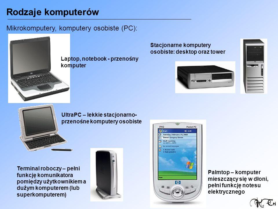 Rodzaje komputerów Mikrokomputery, komputery osobiste (PC):