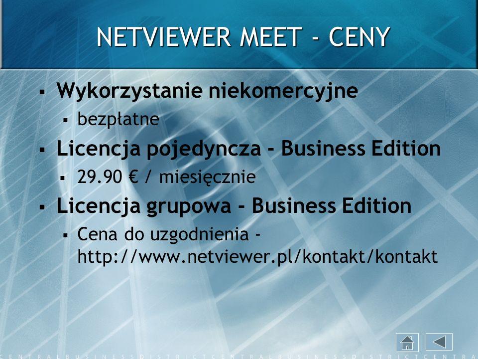 NETVIEWER MEET - CENY Wykorzystanie niekomercyjne