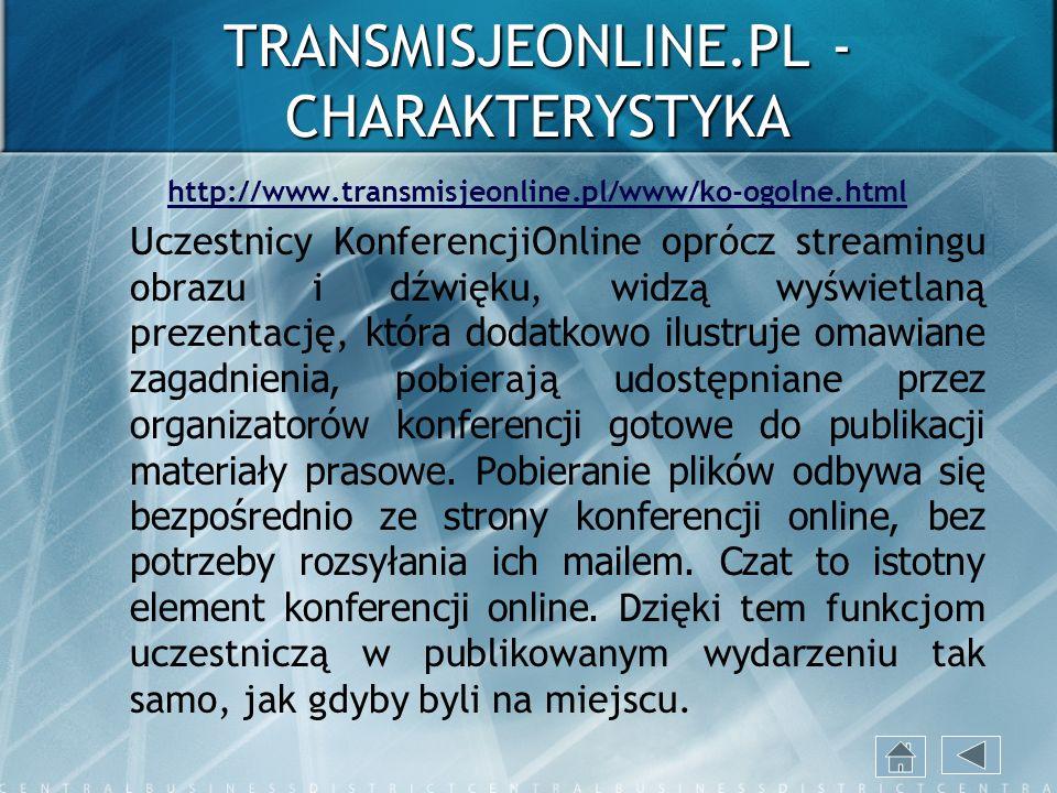 TRANSMISJEONLINE.PL - CHARAKTERYSTYKA