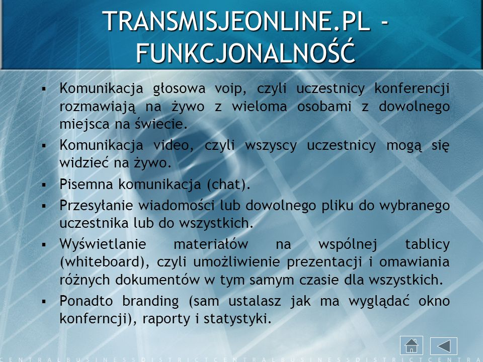TRANSMISJEONLINE.PL - FUNKCJONALNOŚĆ