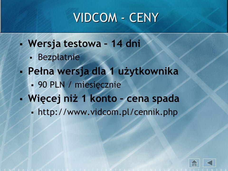 VIDCOM - CENY Wersja testowa – 14 dni Pełna wersja dla 1 użytkownika