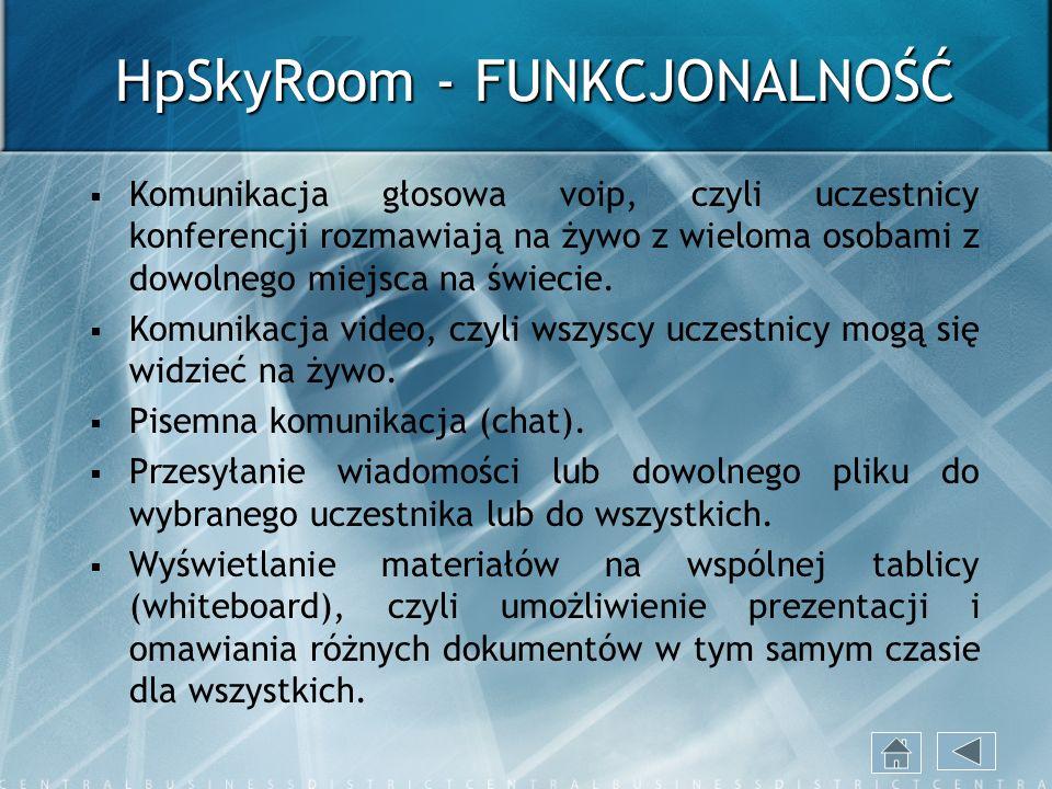 HpSkyRoom - FUNKCJONALNOŚĆ