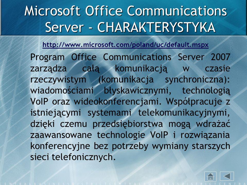 Microsoft Office Communications Server - CHARAKTERYSTYKA