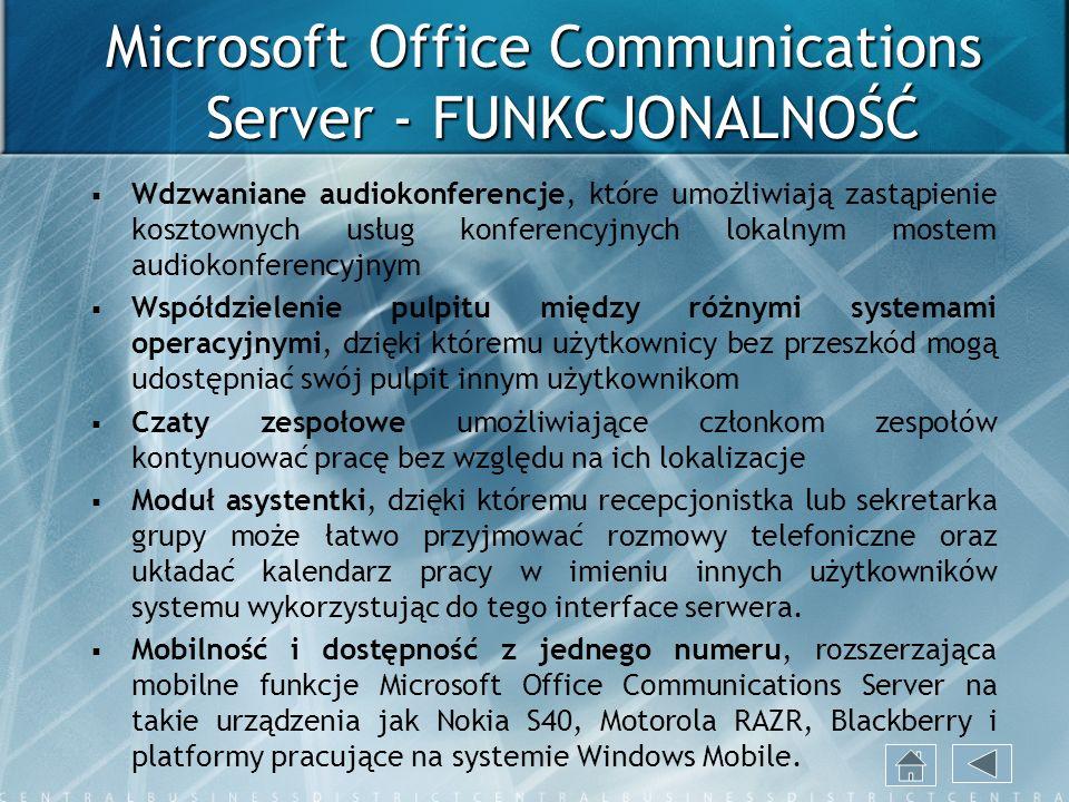 Microsoft Office Communications Server - FUNKCJONALNOŚĆ