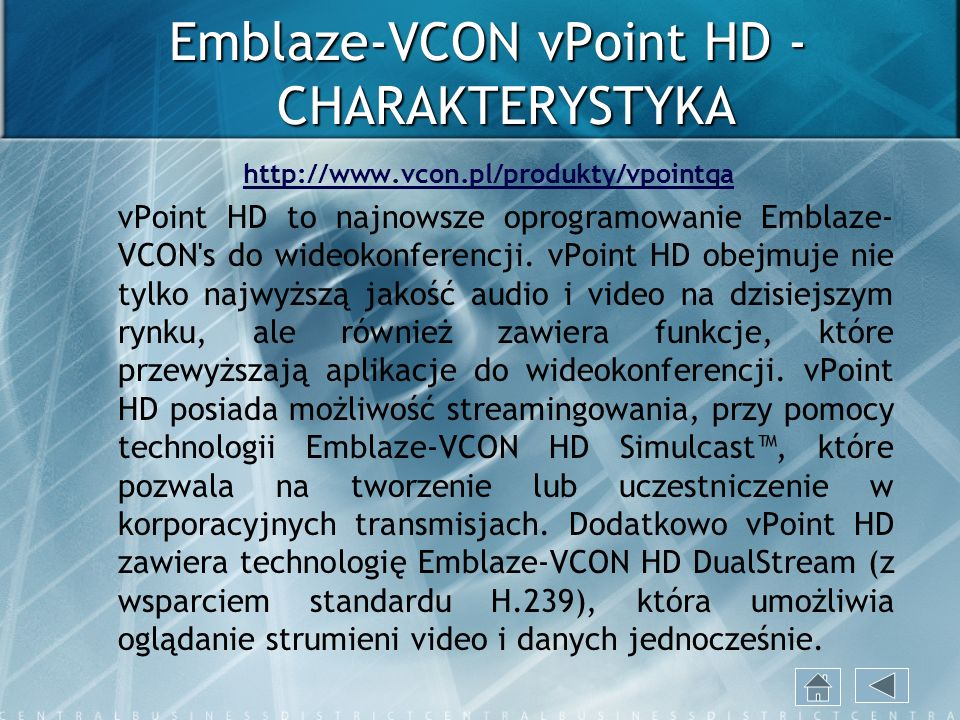 Emblaze-VCON vPoint HD - CHARAKTERYSTYKA