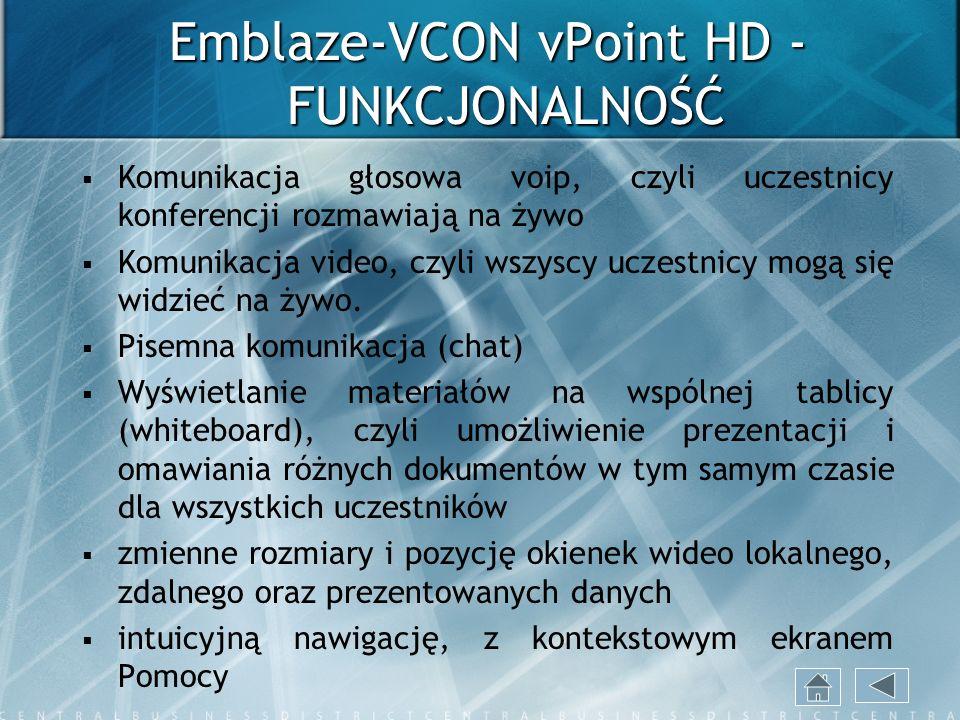 Emblaze-VCON vPoint HD - FUNKCJONALNOŚĆ