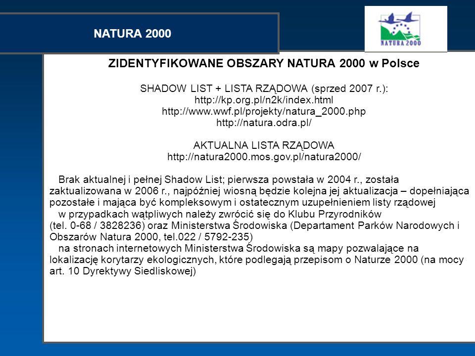 ZIDENTYFIKOWANE OBSZARY NATURA 2000 w Polsce