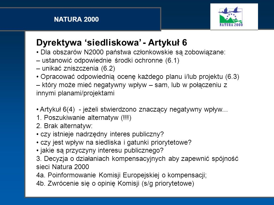 Dyrektywa 'siedliskowa' - Artykuł 6