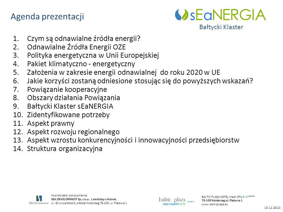 Agenda prezentacji Czym są odnawialne źródła energii