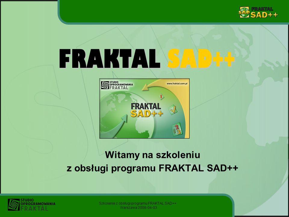 Witamy na szkoleniu z obsługi programu FRAKTAL SAD++