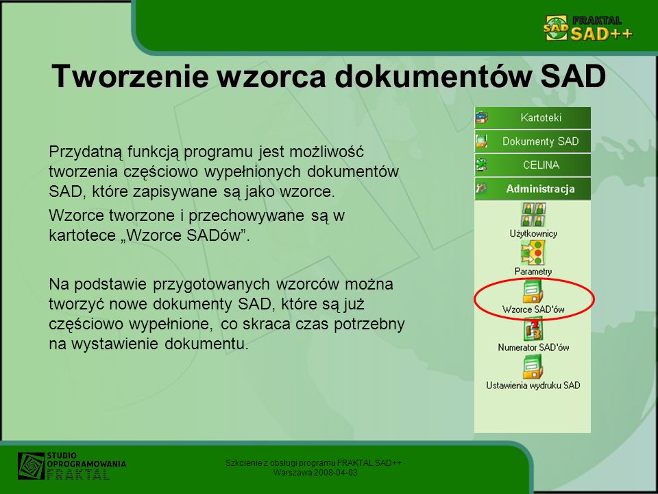Tworzenie wzorca dokumentów SAD