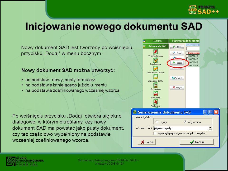 Inicjowanie nowego dokumentu SAD