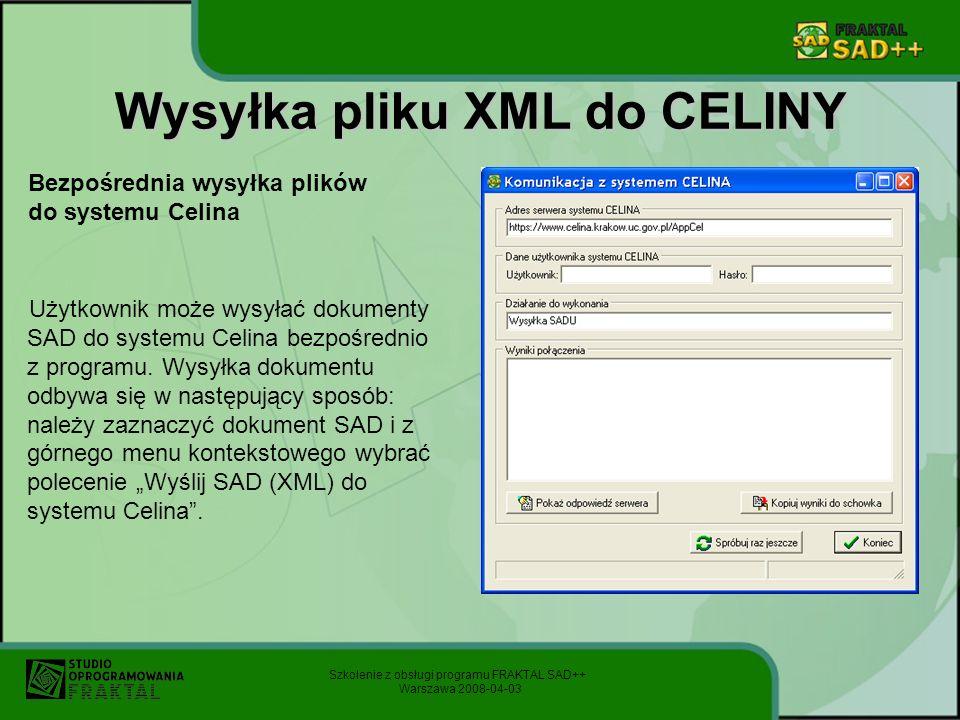 Wysyłka pliku XML do CELINY