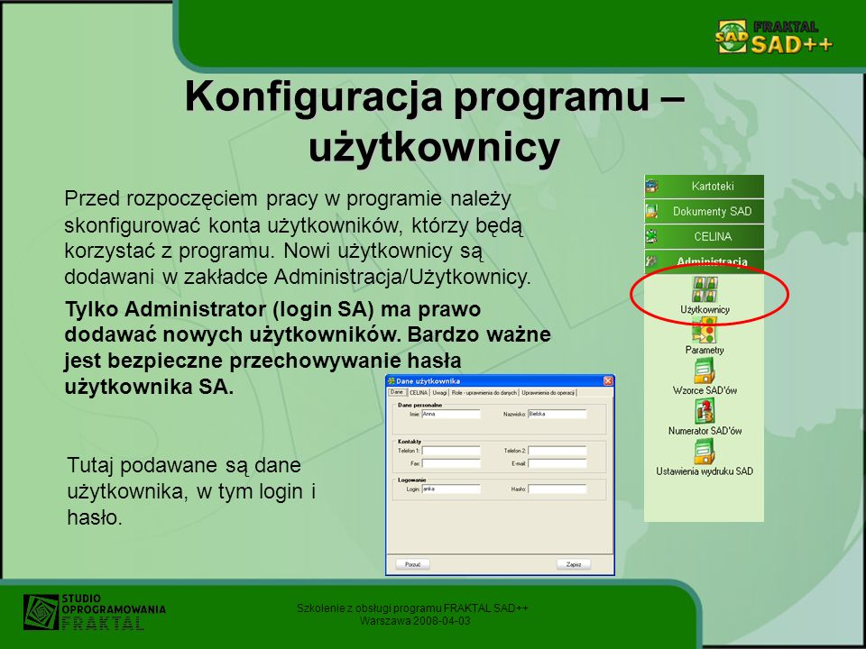 Konfiguracja programu – użytkownicy