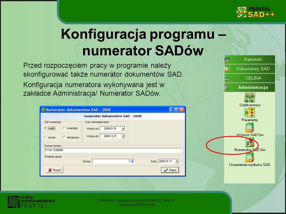 Konfiguracja programu – numerator SADów