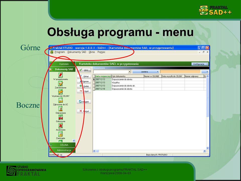 Obsługa programu - menu