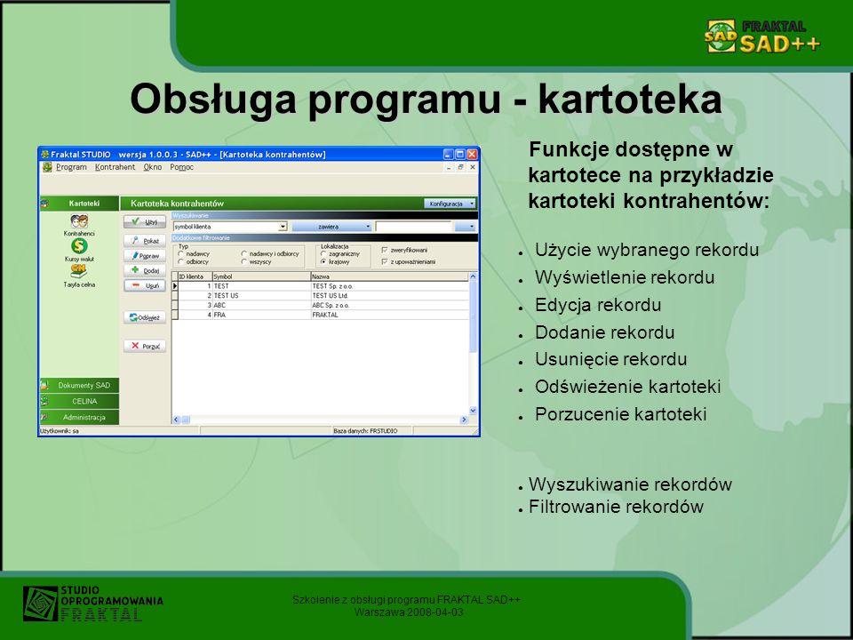 Obsługa programu - kartoteka