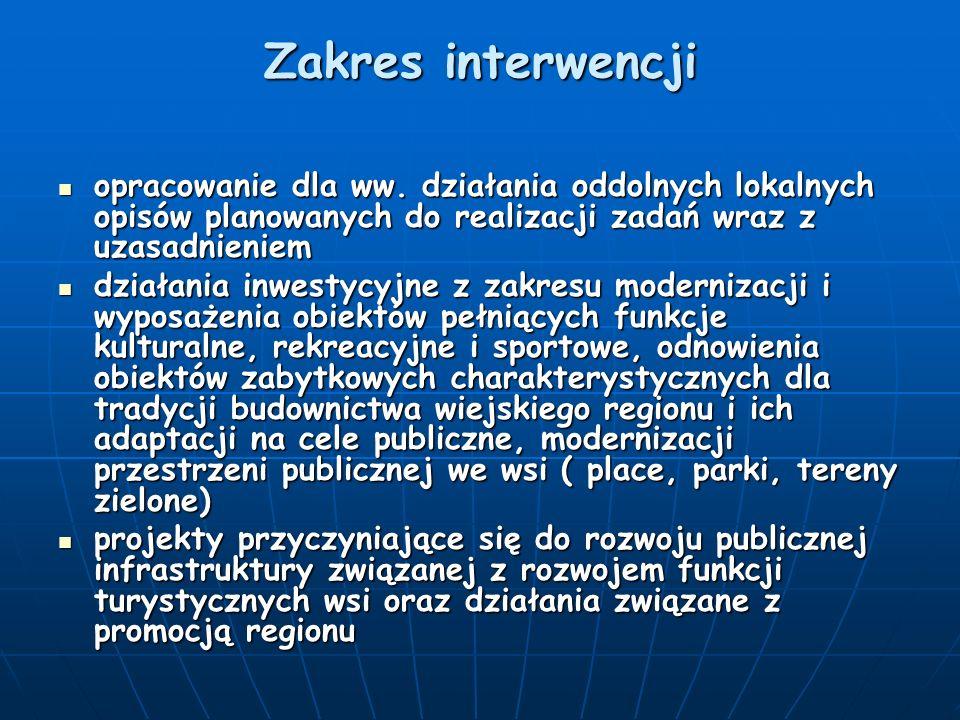 Zakres interwencji opracowanie dla ww. działania oddolnych lokalnych opisów planowanych do realizacji zadań wraz z uzasadnieniem.