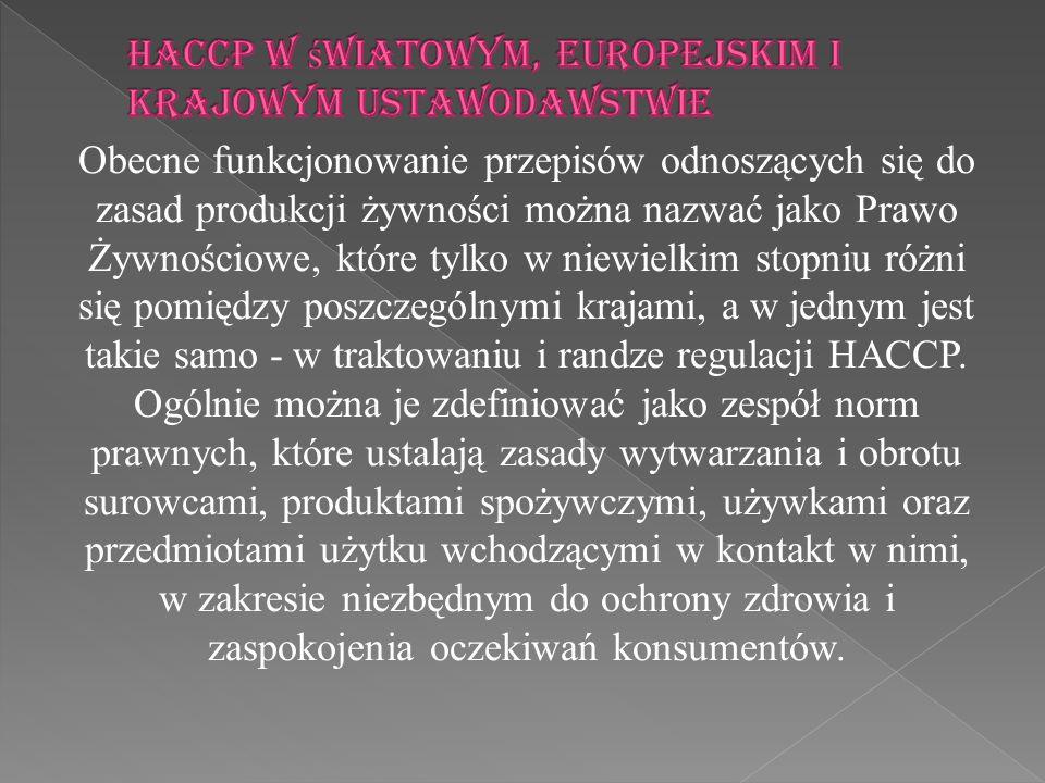 HACCP w światowym, europejskim i krajowym ustawodawstwie
