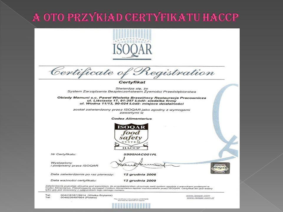 A oto przykład certyfikatu HACCP