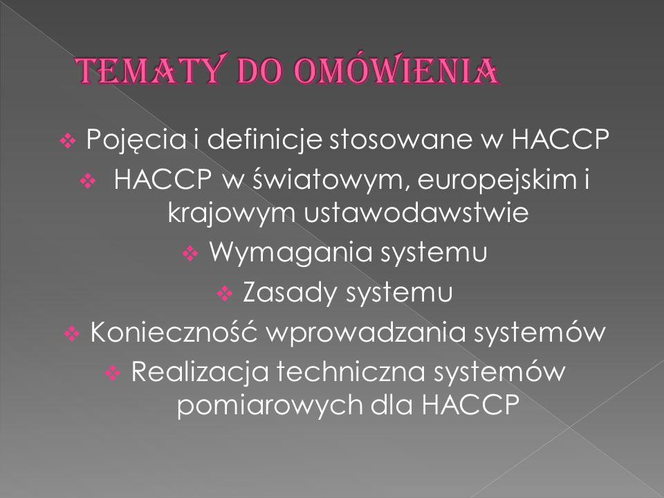 Tematy do omówienia Pojęcia i definicje stosowane w HACCP