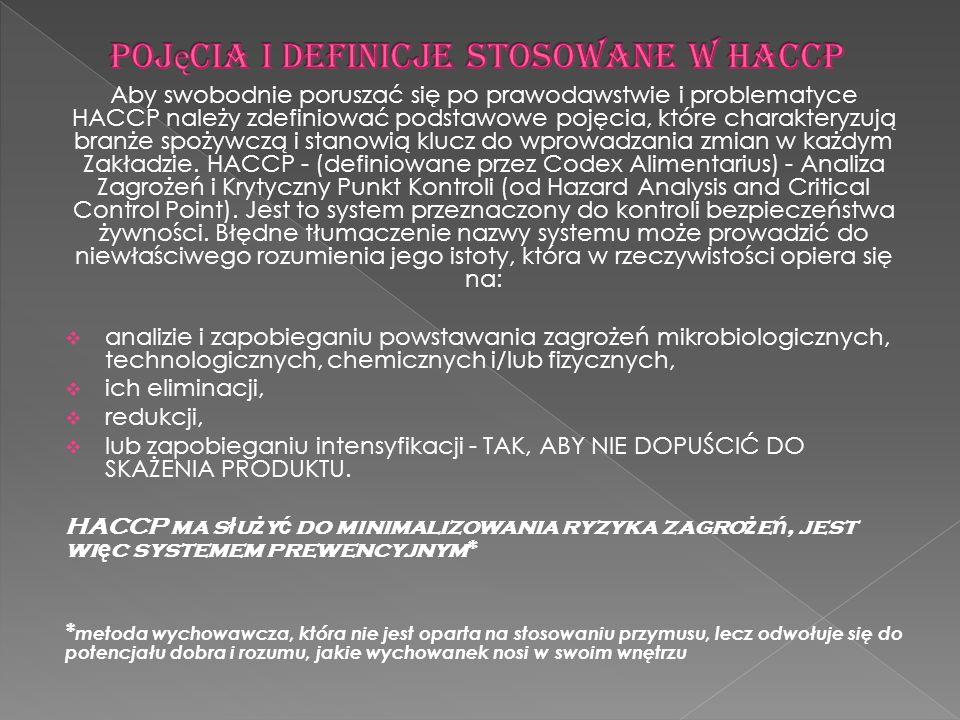 Pojęcia i definicje stosowane w HACCP
