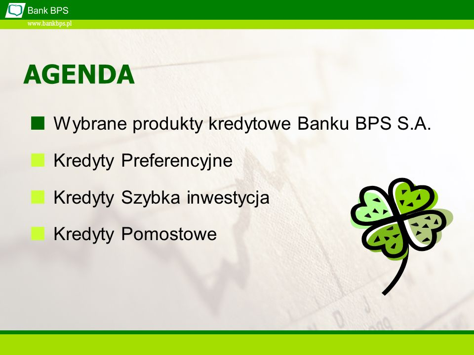 AGENDA Wybrane produkty kredytowe Banku BPS S.A. Kredyty Preferencyjne