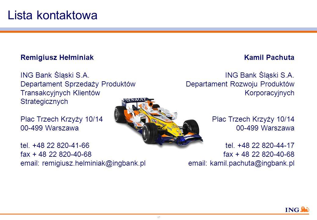 Lista kontaktowa Remigiusz Hełminiak ING Bank Śląski S.A.