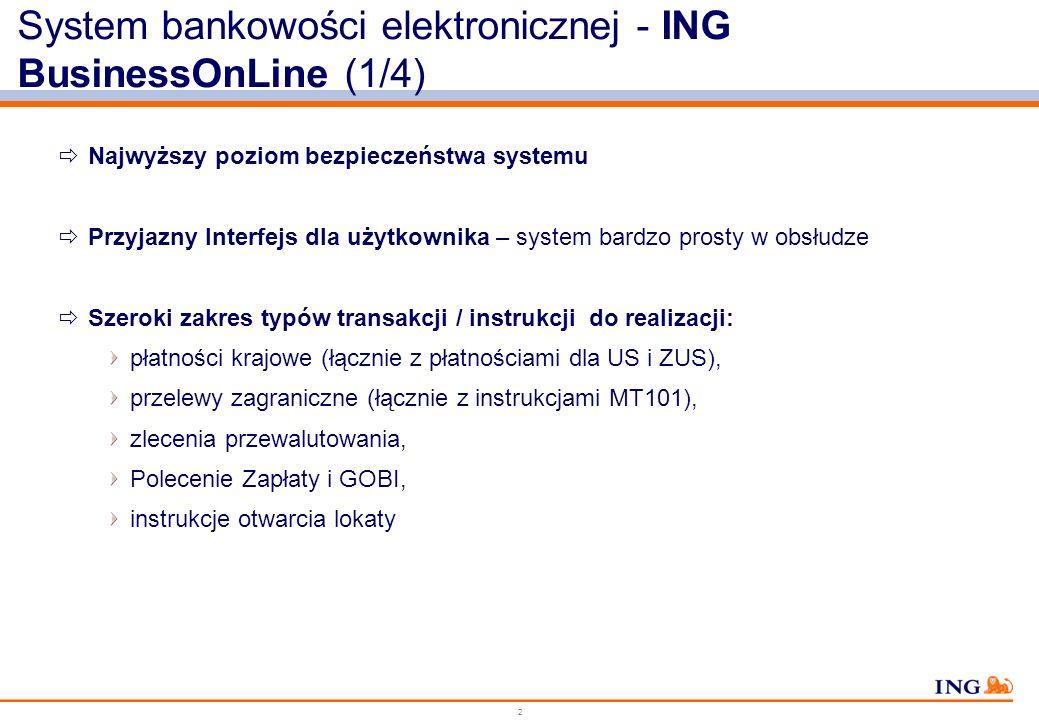 System bankowości elektronicznej - ING BusinessOnLine (1/4)