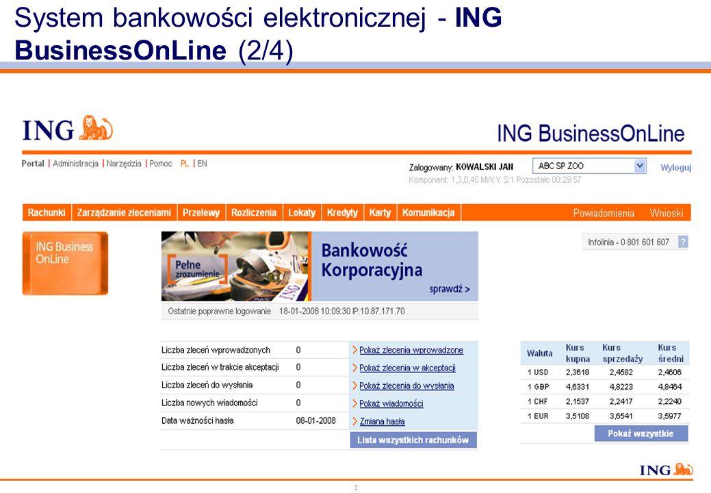 System bankowości elektronicznej - ING BusinessOnLine (2/4)