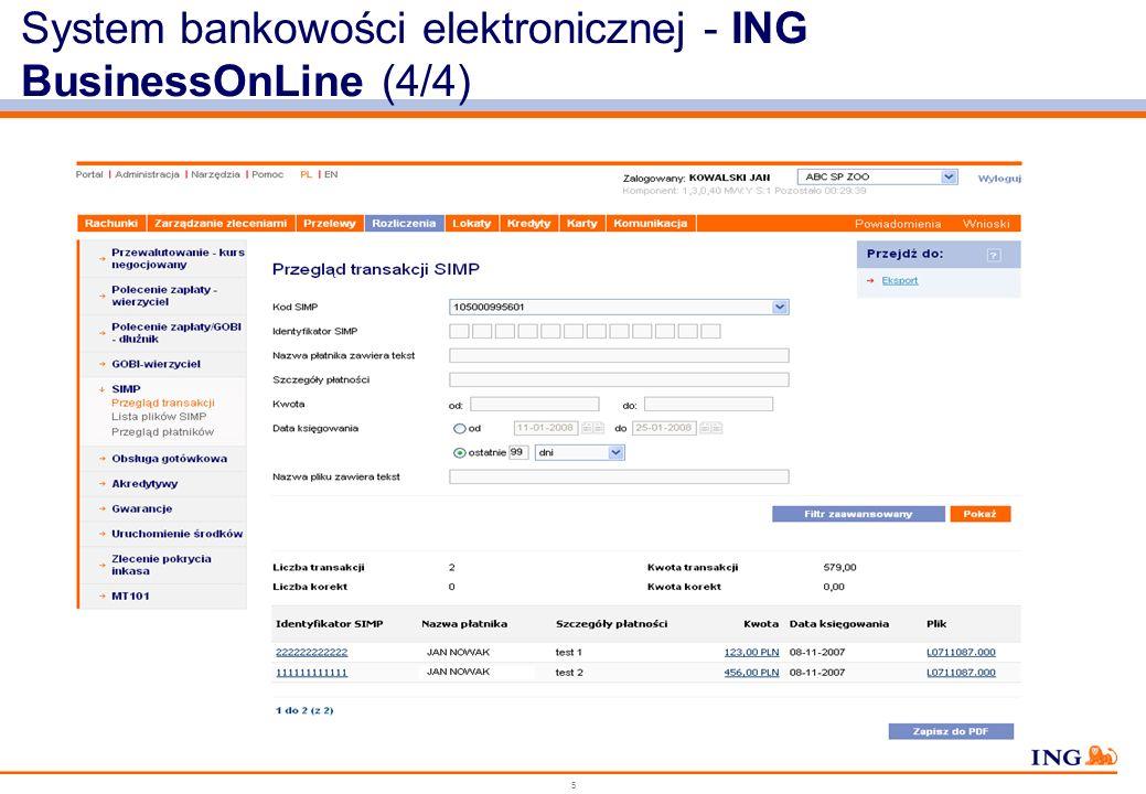 System bankowości elektronicznej - ING BusinessOnLine (4/4)