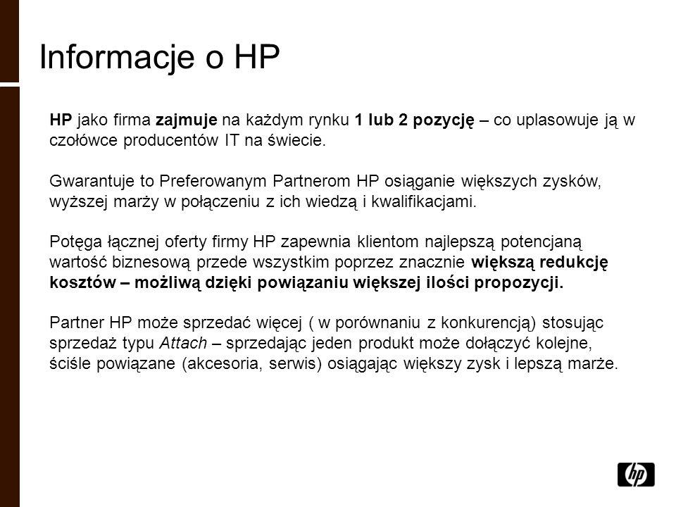 Informacje o HP HP jako firma zajmuje na każdym rynku 1 lub 2 pozycję – co uplasowuje ją w czołówce producentów IT na świecie.