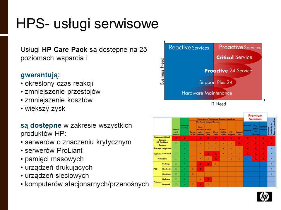 HPS- usługi serwisowe Usługi HP Care Pack są dostępne na 25 poziomach wsparcia i. gwarantują: określony czas reakcji.