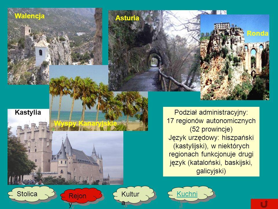 Podział administracyjny: 17 regionów autonomicznych (52 prowincje)