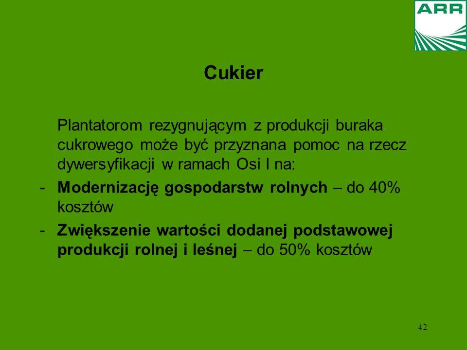 Cukier Modernizację gospodarstw rolnych – do 40% kosztów