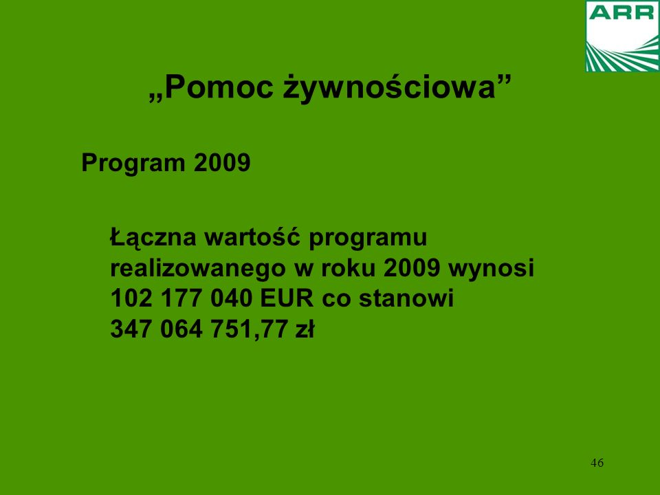 """""""Pomoc żywnościowa Program 2009"""