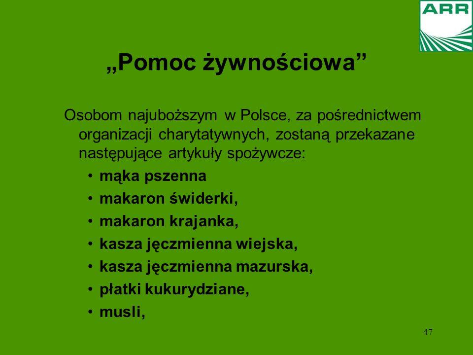 """""""Pomoc żywnościowa Osobom najuboższym w Polsce, za pośrednictwem organizacji charytatywnych, zostaną przekazane następujące artykuły spożywcze:"""