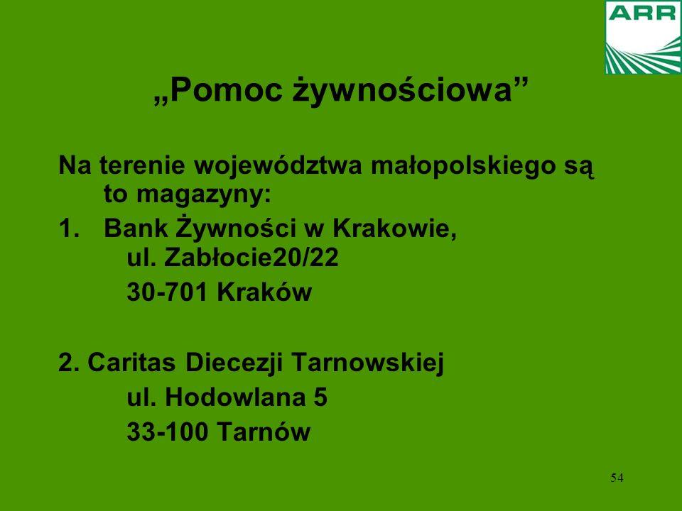 """""""Pomoc żywnościowa Na terenie województwa małopolskiego są to magazyny: Bank Żywności w Krakowie, ul. Zabłocie20/22."""