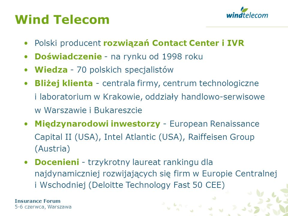 Wind Telecom Polski producent rozwiązań Contact Center i IVR