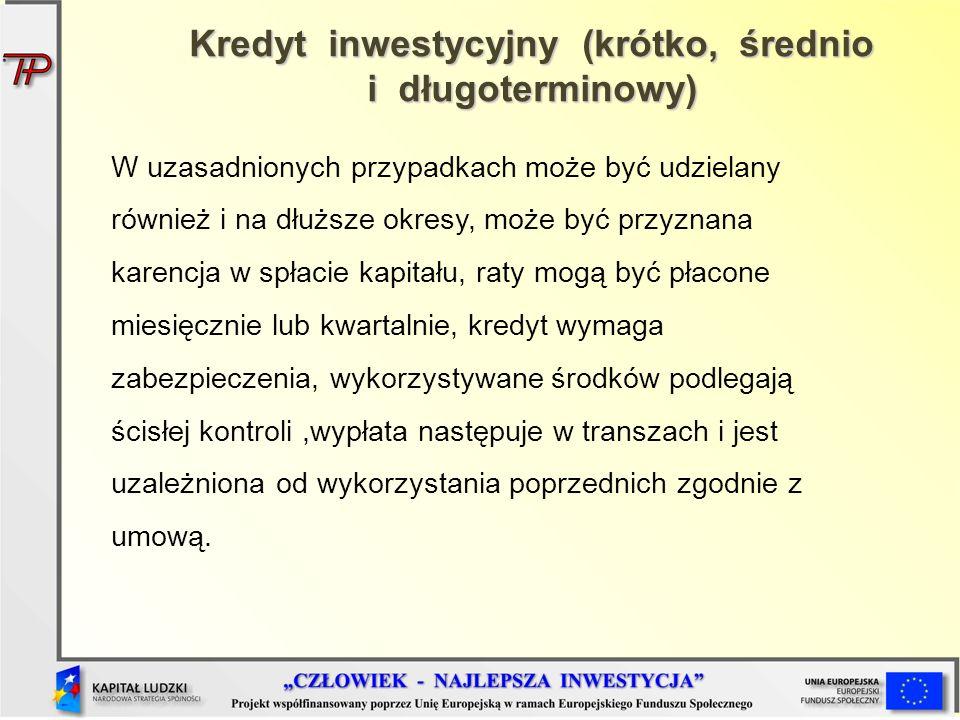 Kredyt inwestycyjny (krótko, średnio i długoterminowy)