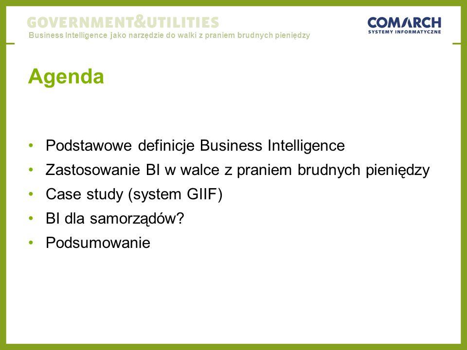 Agenda Podstawowe definicje Business Intelligence