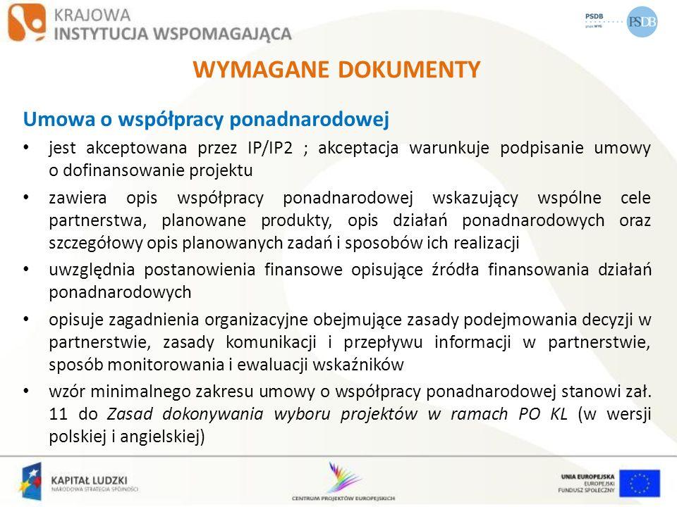 WYMAGANE DOKUMENTY Umowa o współpracy ponadnarodowej